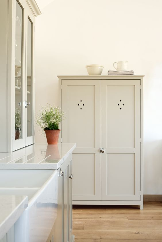 Devol Shaker Pantry Cupboard Painted In 39 Mushroom