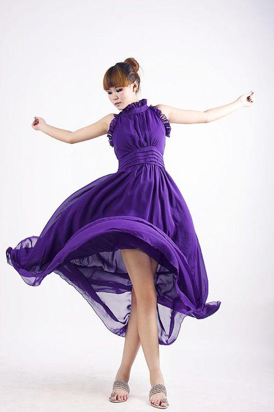 Tidal  purple chiffon long dress