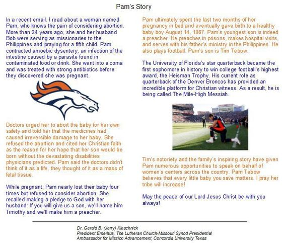 Tim Tebow's amazing story