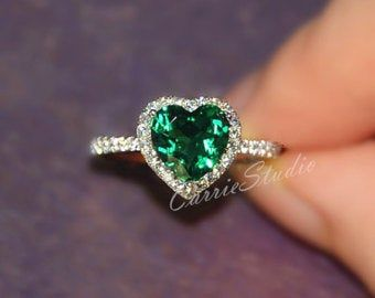 Classic Emerald Ring Emerald Engagement Ring Wedding Ring 925 Sterling Silver Ring White Gold Plated Anniversary Ring