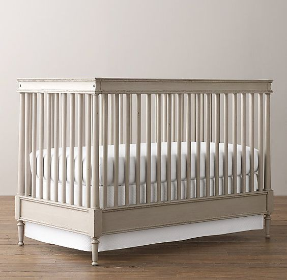 Dream Crib -- RH baby&child's Airin Spindle Crib in Antiqued Taupe: Inspired by a vintage bench from Sweden. It is defined by the simplicity of classic turned-wood spindles and enhanced by rich, yet subtle, details that include beaded edges, a sculpted top rail and delicate turned-wood legs.
