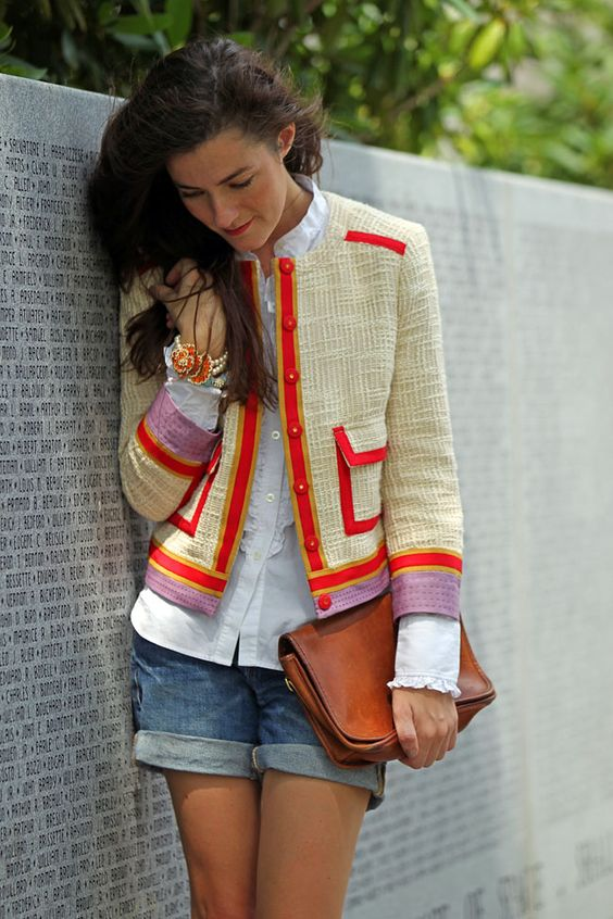 LOVE this jacket by Tory Burch. Shirt: Ralph Lauren. Shorts: J. Crew.  Bag: Vintage Coach. Bracelet: J. Crew.