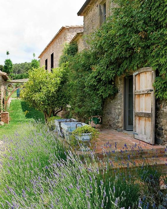 Best French farmhouse exterior and French Country garden inspiration. Restored 18th century farmhouse in the Empord. #frenchfarmhouse #frenchcountry #garden #stone #farmhouse #provence