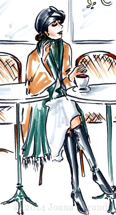 girl drinking coffee sketch