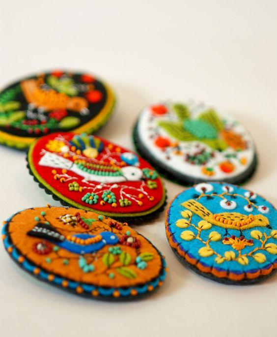 cute bird broches felt bead embroidery