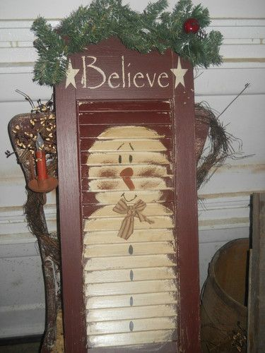 Primitive Antique Christmas Snowman Shutter Christmas Is Coming | eBay: