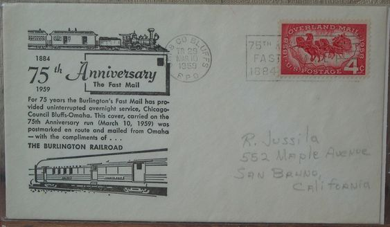 http://ajunkeeshoppe.blogspot.com/  First Day Issue/Cover-Stamp-Overland Fast Burlington Railroad 1959 4c 12.0zP729B4Junk0346