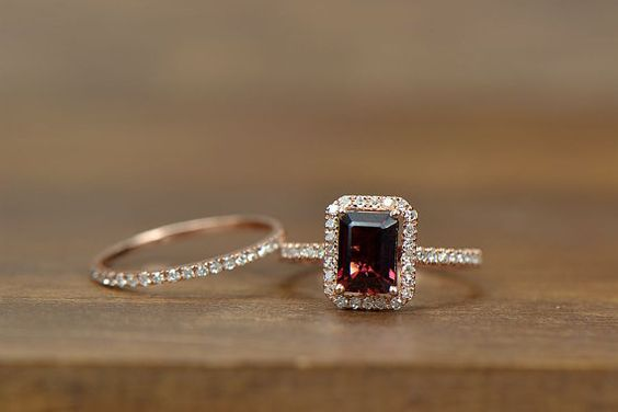 Two- Rings set 5X7mm Emerald cut Garnet Rring Solid 14k Rose Gold Engagement Ring match band.$505.00   ~~~~~~~~~~~~~~~~~~~~~~~~~ *prefer two more prongs to secure jewel definitely a favorite