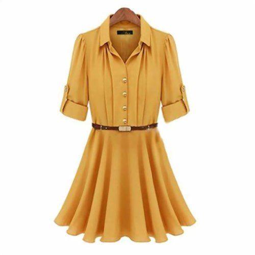 Gold Button Elegant Half Sleeve Chiffon Dress With Belt Yellow 10P Eyekepper 39.99