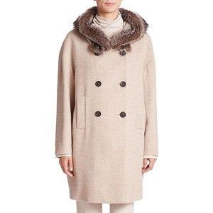 Brunello Cucinelli Macro Melange Fur-Trimmed Hooded Cashmere Coat