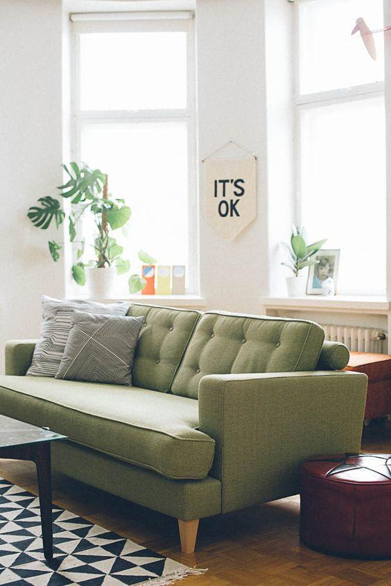 moderne Wohnzimmer, Oliven and Grüne Sofas on Pinterest