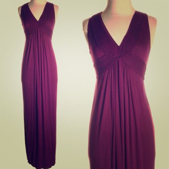 "Max Studio Maxi Dress Deep purple maxi dress by Max Studio. Size M. There is a tiny hole in back where the label was sewn in. Length is 59"". Bust is 14"", waist 12"". Material provides stretch. Gorgeous color and details! Max Studio Dresses Maxi"