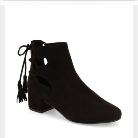 TopShop Kimble Black Suede Booties NWOT TopShop Kimble Black Suede Booties. Euro size 38. Fit like a size 7. Adorable lace-up back. Topshop Shoes Ankle Boots & Booties