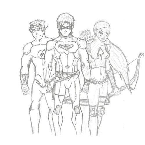 Young Justice Kid Flash Wally West Nightwing Dick Grayson Artemis Crock