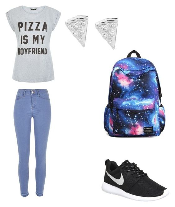 """""""Pizza is my boyfriend"""" by starrjames ❤ liked on Polyvore featuring mode, River Island et NIKE"""