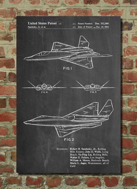 F-23 chasseur furtif avion brevet affiche, veuve noire 2, Aviation impression, décor de chambre de garçons, avion impression, PP972