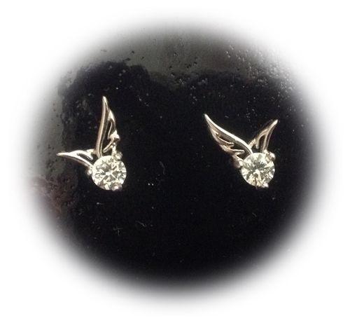 Ohrringe, Silber, Steinchen, Flügel, gestempelt, Stecker