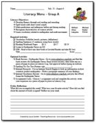 Sample literacy menus for centers on the Balanced Literacy Page on Teaching Resources. I differentiated by creating three different menus, one for each group.