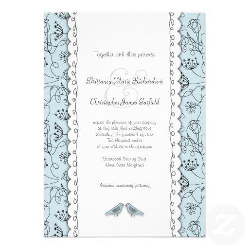 Happy Blue Birds Wedding Doodle Trendy Budget Custom Invitation