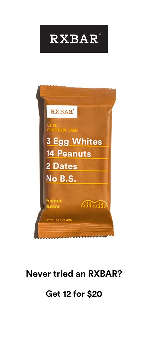 For a limited time get 12 bars for $20 + free shipping. RXBARs are whole food protein bars made with real ingredients. Just real food that tastes good and is good for you. Each delicious bar packs 12g of protein and 5g of fiber in under 210 calories.