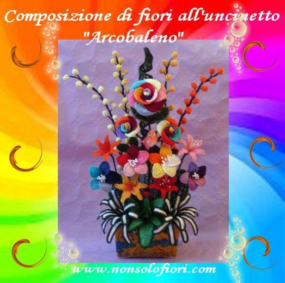 """Composizione floreale all'uncinetto """"ARCOBALENO"""" larghezza cm. 27 - altezza cm 46 www.nonsolofiori.com"""