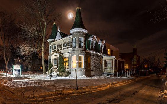 дом, зима, ночь
