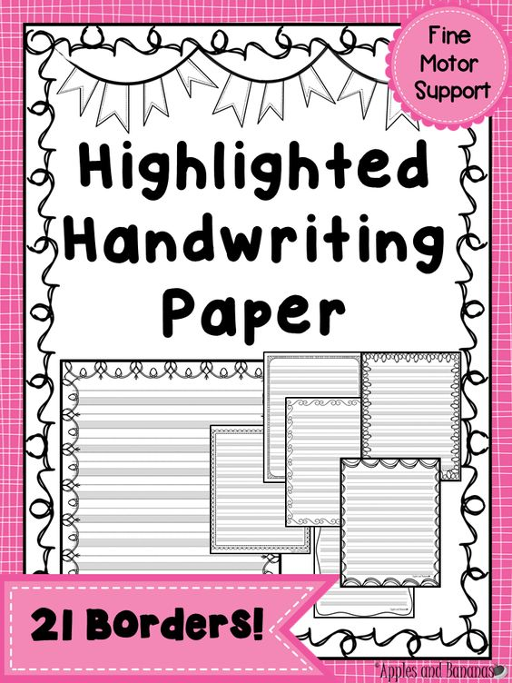 Highlighted paper for handwriting