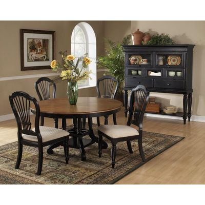 Hillsdale Wilshire 5 Piece Round Dining Room Set W/ Side Chairs In Rubbed  Black