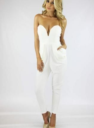 Sweetheart Neckline Jumpsuit in White #strapless #romper #playsuit ...