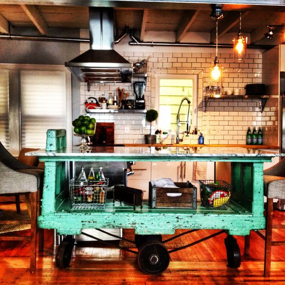 17 Ideas About Industrial Kitchen Island On Pinterest: Factory Cart Kitchen Island: Unique Island; Vintage; DIY