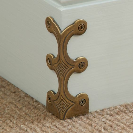 this one ships worldwide! Solid brass corner protectors - Stair rods...accent pieces could be used for lots of other ideas biased the intended stair corner.