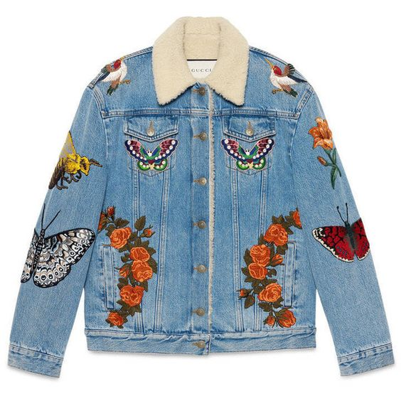 Gucci Embroidered Denim Jacket (£2,950) ❤ liked on Polyvore featuring outerwear, jackets, tops, coats & jackets, denim, ready to wear, women, gucci, embroidered denim jackets and blue jean jacket