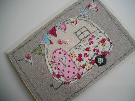 Handmade card, freehand machine embroidery, linen textiles ,retro caravan design, birthday, girls