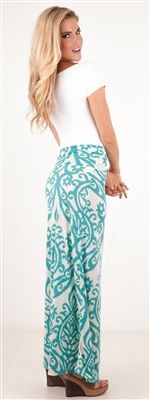 Mint Damask Print Maxi Skirt | Colors, Church and Damasks
