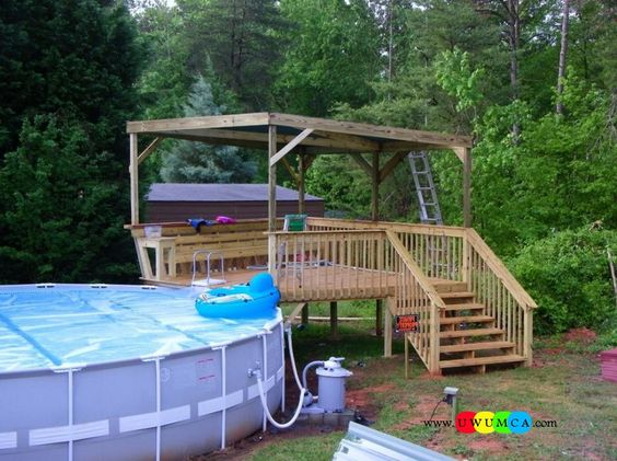 Swimming pool pool decks spectacular intex ultra frame for Above ground pool surround ideas