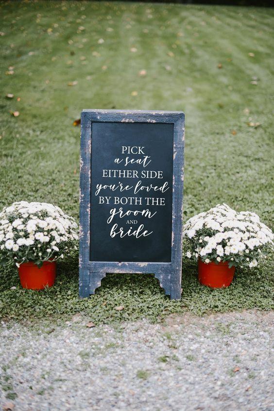 """Pretty DIY """"Pick a Seat"""" Wedding Signs"""