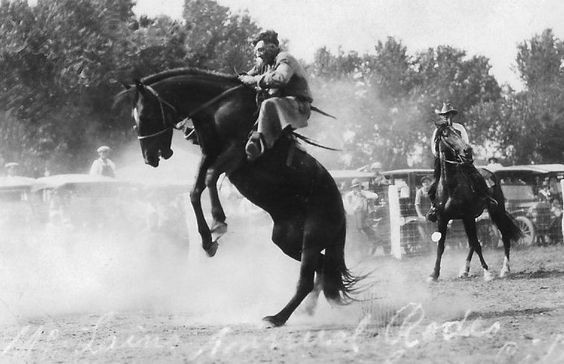 bronc riding, Barber County, KS, 1930s rodeo