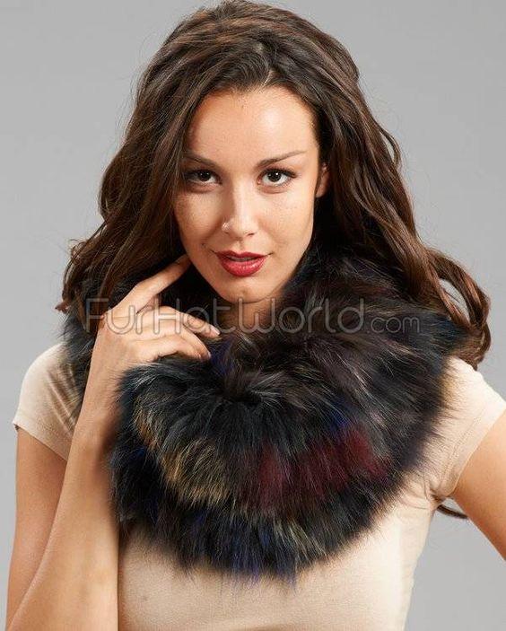 Multicolored Fox Fur Tara Pullover Scarf