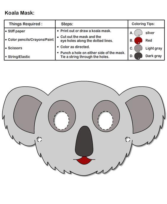 koala mask for kids print and cut mask arts crafts for kids pinterest kids prints for. Black Bedroom Furniture Sets. Home Design Ideas