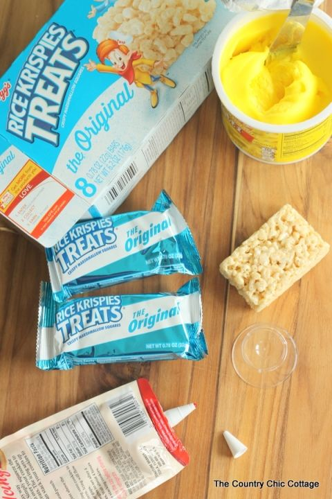 Fun softball treats made from packaged Rice Krispie treats!