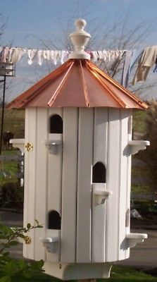 Bird House 10 Hole With Low Copper Roof Amish Made In Usa Bird House Bird House Plans Bird Houses