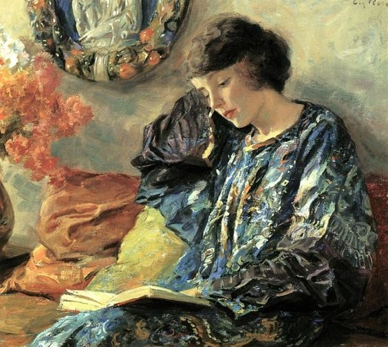 """Guy Rose (1867-1925), Marguerite Reading, c.1909. The Bowers Museum """