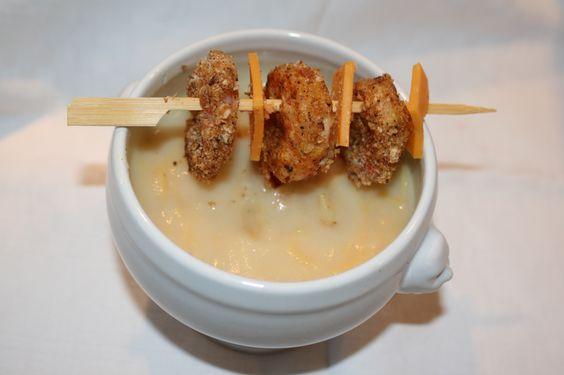 Recette Creme de choux fleur et brochette de crevettes panees - notée 3,1 sur 5 par 20 internautes