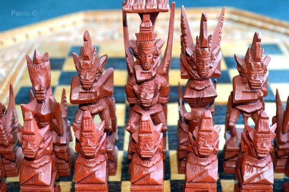 Close up schaakspel uit Indonesie