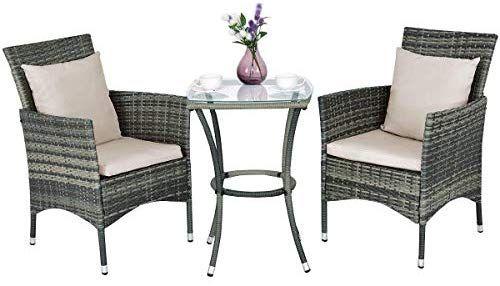 Amazon Com Tangkula 3 Piece Patio Furniture Set Wicker Rattan