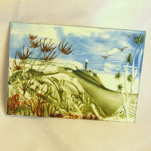 ACEO.Original encaustic art. Wax Painting.  After the Summer Visitors Have Gone by PollyKrafts