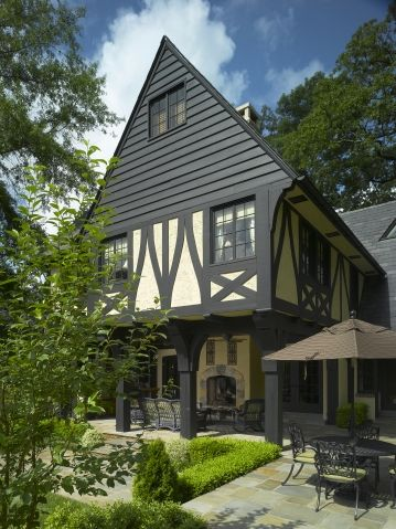Tudor dark trim and exterior colors on pinterest for Tudor siding