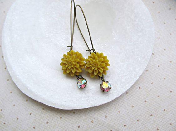 Mustard Yellow Chrysanthemum earrings Rainbow by HappyTearsbyMicah, $13.00