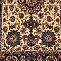 Tapete Persa Semnan Sherkat Floral de Lã e Seda sobre Seda 1,08m X 1,56m