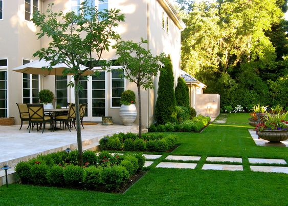 California transitional landscape design formal garden for Formal front garden ideas